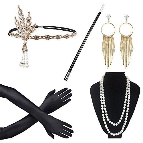 awtlfe 1920er Zubehör Set Flapper Stirnband Halskette Ohrringe Handschuhe Zigarettenspitze Tolles Zubehör