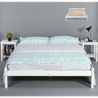 Estructura de la cama de pino macizo natural, resistente, color blanco, color transparente, blanco DOUBLE BED FRAME
