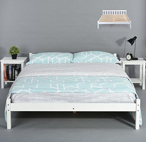 Letto matrimoniale in robusto pino massiccio bianco, con cassetti double bed frame clear/white