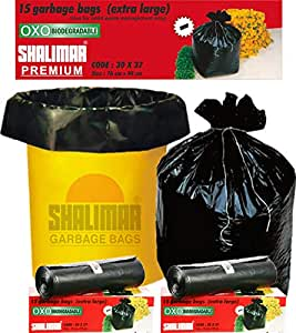 Shalimar Premium OXO - Biodegradable Garbage Bags (Extra Large) Size 76 cm x 94 cm 4 Rolls (60 Bags) (Black Colour)