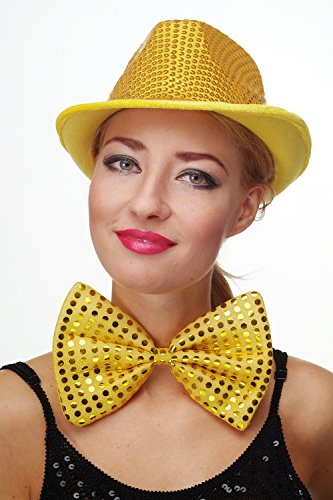 DRESS ME UP - Fliege Clownfliege Clown groß Bowtie gelb Glitzer Pailletten Riesenfliege (Vegas Auf Las Halloween)