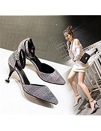 432a1e56 Xue Qiqi La cuadrícula de zapatos de mujer correa plana de detalle con solo  zapatos femeninos zapatos de tacón…