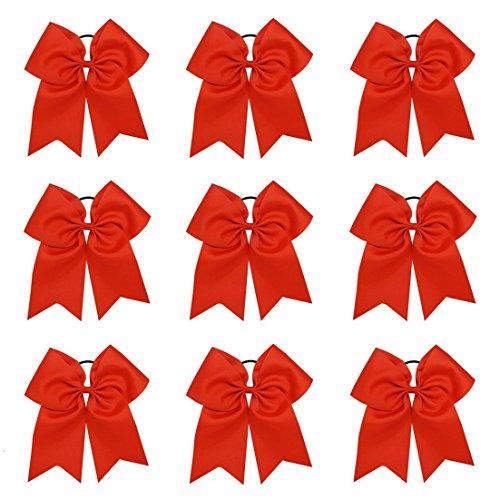 9 stücke 20 cm Große Haarschleife Befestigen Haargummi für Frauen Mädchen Cheerleader Großen Grosgrainband Bogen (Red)