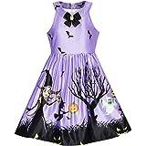 Mädchen Kleid Halloween Witch Schläger Kürbis Kostüm Lila Kleiden Gr. 134