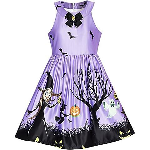 Mädchen Kleid Halloween Witch Schläger Kürbis Kostüm Lila Kleiden Gr. 122