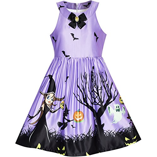Mädchen Kleid Halloween Witch Schläger Kürbis Kostüm Lila Kleiden Gr. 158