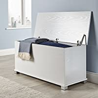 Home Source Ottoman Storage Chest Black White Oak Toy Chest Bedding or Blanket Box Large Wooden