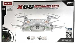 Syma X5C EXPLORER (Forscher) Wei?e Sonder-Edition mit Zusatz-Akku und HD Kamera mit Tonaufzeichnung - 3D Quadrocopter Drohne, mit Motor-STOPP-Funktion & Akku-Warner, 360¡ã Flip Funktion, 2.4 GHz, 4-Kanal, 6-AXIS Stabilization System