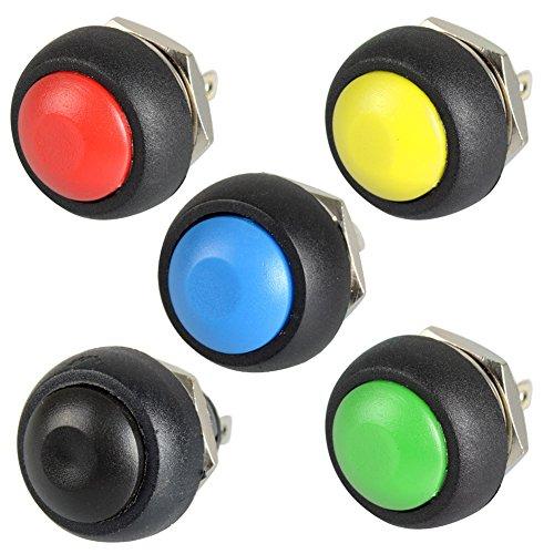 5pcs Negro/Rojo/Verde/Amarillo/Azul 12mm impermeable lockless momentáneo Push Button interruptor de encendido/apagado