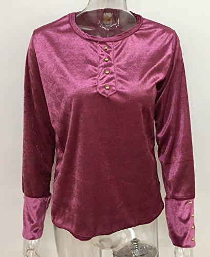 Donna Maglie a manica lunga Camicie Sottile Blusa a tunica Top con Bottoni Maglietta Rotondo Collo Pullover Shirts Rosa