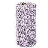 Toruiwa Hanfseil Wickel Geschenk Baumwollseil Band Schnur Seil String für Floristik Geschenke DIY Weihnachten Geschenkanhänger 100m (Lila)