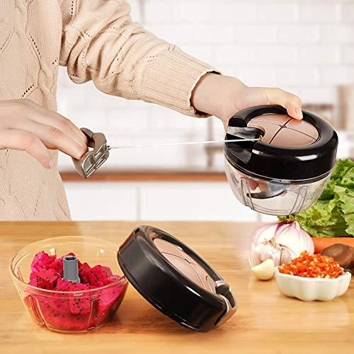 GARLIH Zwiebel Zerkleiner,400ml Zwiebelschneider Gemüseschneider Zerkleinerer Mit 3 Klingen Küche Manuell Multizerkleinerer Zwiebelhacken Mischen für Salat Fleisch Knoblauch Nüsse Obst Kraut