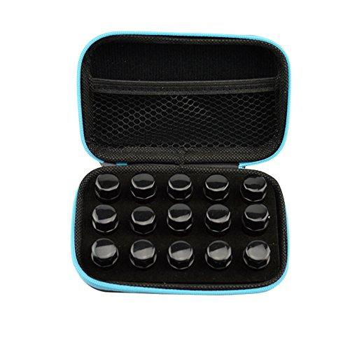 15 slot EVA schaumstoffeinsatz ätherisches öl griff koffer tasche Nagellack lagerung Schwarz 13.5 * 8.5 * 4.5cm für 1ML 2ML 3ML