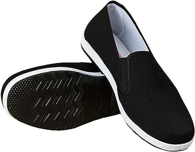 Pantofole Stile Cinese Kung Fu Arti Marziali Scarpe Tai Chi Suola in Gomma Unisex Nero