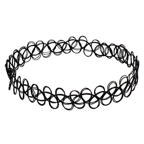 Jane Stone Damen Halskette Choker Kropfband Henna Tattoo schwarz elastisch enge anliegende Jocker Kette für junge Frau und Mädel