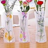 Picturer7Vase pliable et extensible, portable et réutilisable, en PVC, motif floral, mignon, incassable, respectueux de l'environnement, objet de décoration