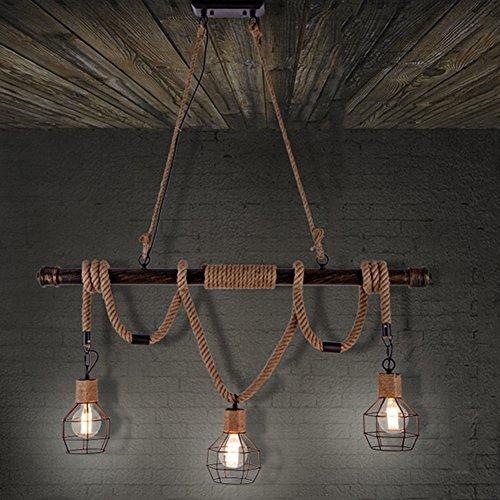 BAYCHEER Vintage Seil Industrielampe Kronleuchter Deckenleuchten LED Glühlampe Lampenfassung E27 Hängeleuchte mit 3 Fassung - 240 Ess-set