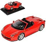 alles-meine.de GmbH Ferrari 458 Italia Cabrio Spider Rot Ab 2009 1/24 Bburago Modell Auto mit individiuellem Wunschkennzeichen