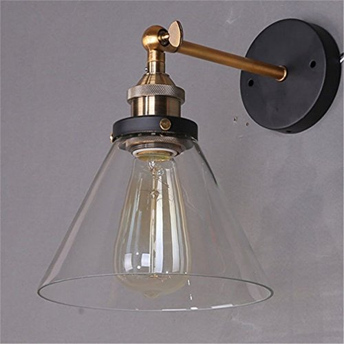 Antique style wall light with shade amazon lightess vintage industrial edison loft coffee bar wall sconce clear glass shade retro light fixtures mozeypictures Choice Image