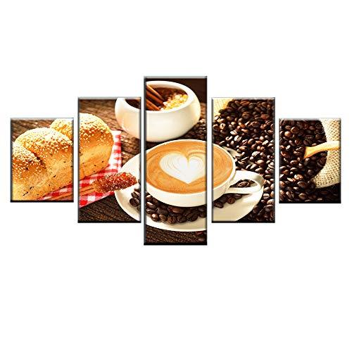 HQATPR HD Print Food Poster 5 Stück Kaffee und Brot Malerei Modular Home Decor Leinwand Wandkunst Bild für WohnzimmerMit Rahmen (Crystal Brot-box)