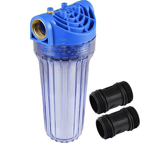 Filtre à eau Agora-Tec ® AT - Grand filtre avec pression de fonctionnement :-8 bar, maximum.Débit :3000 litres / heure - Taille des mailles du tamis filtrant :0,15 mm - Raccords :30,3 mm - Douilles en laiton IG.