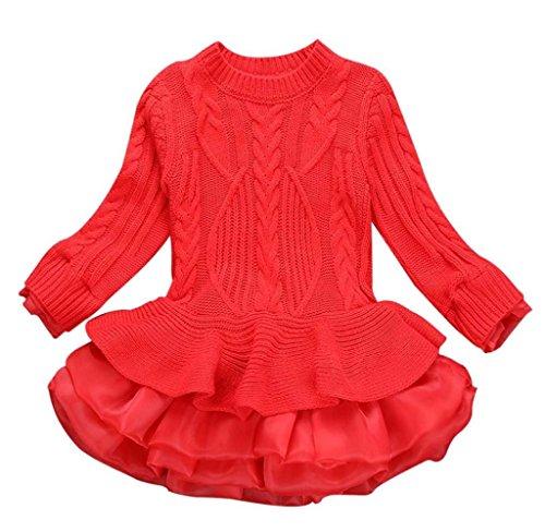Mädchen Gestrickt Sweatshirt Winter Pullovers Hirolan Kinder Häkeln Tutu Kleid Tops Kleider (120cm, Rot)