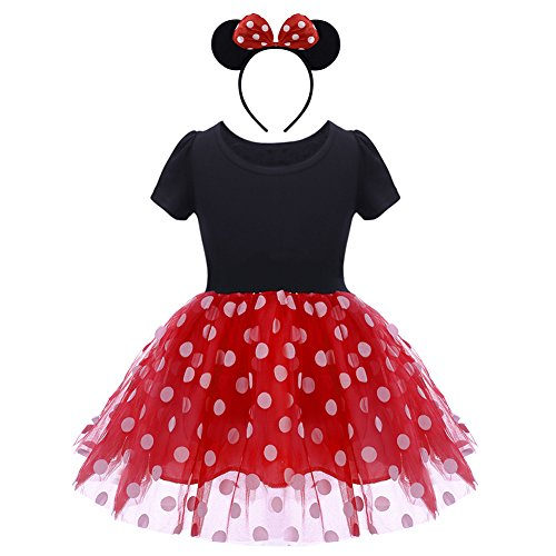 OBEEII Baby Mädchen Festlich Fasching Kostüme Polka Dots Prinzessin Tutu Kleid mit Cartoon Maus Ohren Stirnband Neugeborenen für Pageant Karneval Geburtstagsparty Kleid 12-18 Monate Rot (Professionelle Cartoon Kostüm)