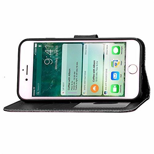 iPhone Case Cover Solid Color Diamant treillis 3D Effet Housse Housse Etui Portefeuille Avec Sangle De Main Pour IPhone 7 Plus ( Color : Pink , Size : IPhone 7 Plus ) Black