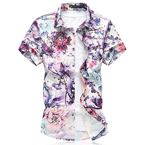 Mirecoo Herren Urlaub Hawaiihemd mit Blumen-Print Kurzarm T-Shirt Hemd