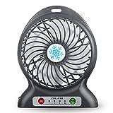 Ventilateur portable USB rechargeable Mini ventilateur de table avec 2600mAh Power Bank 3vitesses réglable