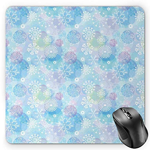 Butterfly Mouse Pad, Spring Season Themed Blooming Nature Inspired Flora and Fauna Pattern Swirls Gaming Mousepad Office Mouse Mat Multicolor Flora Swirl
