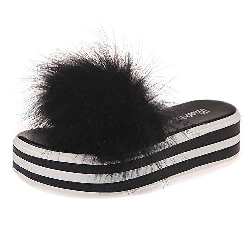 Damen Hausschuhe, Damen Mode Plüsch Schwamm Kuchen Kunstpelz Flip Flop Hausschuhe Offene Zehe Flache Keile Schuhe Sandale (Schwarz, 38 EU)