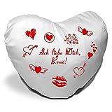 Herzkissen mit Namen René und Motiv - Ich liebe Dich - zum Valentinstag - Herzkissen personalisiert Kuschelkissen Schmusekissen