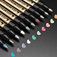 Metallic Marker Pens, Jr.Hagrid Set of 10 Assorted Colors Premium Paint Pen for Wedding Guest Book, Craft Supplies for Glass, Rock, Ceramic, Plastic, Metal - Cool Scrapbook Materials