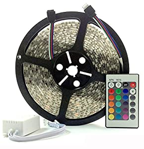 6 Metre LED Strip Light, 5050 RGB Colour Changing LED Tape with Wireless Key 24 Controller, Fantastic for Applications Such As Kitchen Lighting, Under Cabinet Lighting, Ceiling Lights, TV Lighting, Etc by Discount LEDs