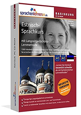 Estnisch-Basiskurs mit Langzeitgedächtnis-Lernmethode von Sprachenlernen24.de: Lernstufen A1 + A2. Estnisch lernen für Anfänger. Sprachkurs PC CD-ROM für Windows 8,7,Vista,XP / Linux / Mac OS X