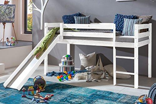 expendio Hochbett mit Rutsche Kimball 90x200 Kiefer weiß lasiert Massivholz Bett Kinderbett Spielbett Kinderzimmer