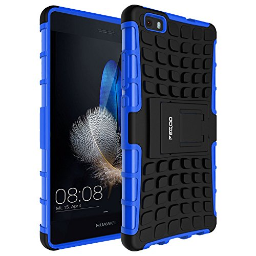 Huawei P8 lite Case,P8 lite Case,Pegoo huawei P8 lite Case Impact Resistant Shockprooof Hybrid Hard Heavy Duty Dual Layer Hard Plastic and Soft TPU Armor Case Cover for huawei P8 lite Case With a Kickstand (Blue)