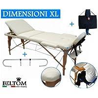 Beltom Table DE Massage 3 Zones CRÈME + Porte Rouleau COSMETIQUE LIT ESTHETIQUE Pliante