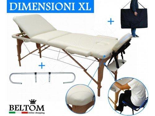 Lettino massaggio 3 zone in legno dimensione xl 195 x 70 cm + portarotolo per lettini da massaggi portatile pieghevole + borsa portalettino + pannello reiki + angoli arrotondati e rinforzati - estetica fisioterapia fisioterapista tattoo tatuaggi - nuovo - panna