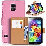 DONZO Tasche Handyhülle Cover Case für das Samsung Galaxy S5 / I9600 / I9605 / SM G900 in Rosa Wallet Structure Plus als Etui seitlich aufklappbar im Book-Style mit Kartenfach nutzbar als Geldbörse