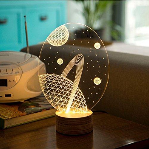 LED-Tischleuchte Galaxy Holzfarben-Silber