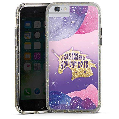 Apple iPhone 6 Plus Bumper Hülle Bumper Case Glitzer Hülle Unicorn Phrases Sie Bumper Case Glitzer gold