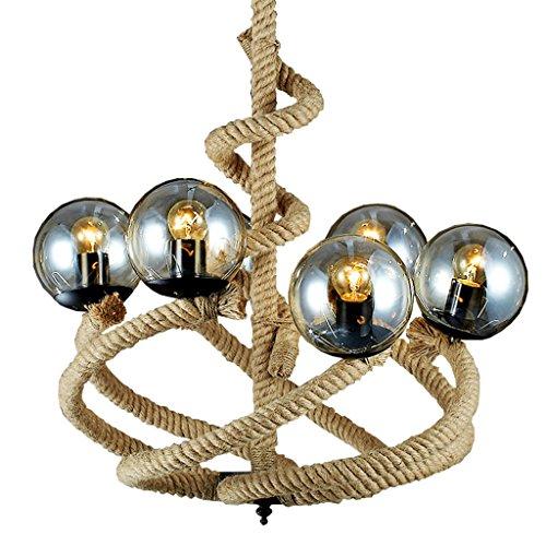 DSADDSD &Pendelleuchte Restaurant Industrielle Retro magische Bohnen-Hanf-Seil-hängende Licht-6 beleuchtet amerikanisches Dorf-Dachboden-Glaslampenschirm-Bar-Café-hängende Lampe