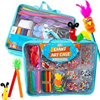 Art with smile Giant Art Case Set of 1,600+ Pc.- Arts and Crafts Supplies for Kids 6+ - DIY Projects Case Filled with Pom Pom Box Craft Kit, Beads, Buttons, Scissors, and Pipe Cleaners for Kids