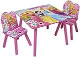 * Wunderschöne Kindersitzgruppe mit einem Tisch und zwei Stühlen * Disney Motiv 'Princess - Prinzessinnen' * Sehr stabil und hochwertig * Material: farbig lackiertes Holz * Maße Tisch: ca. 60x60x44 cm (L/B/H) * Stuhlhöhe: ca 50 cm * Sitzhöhe ...