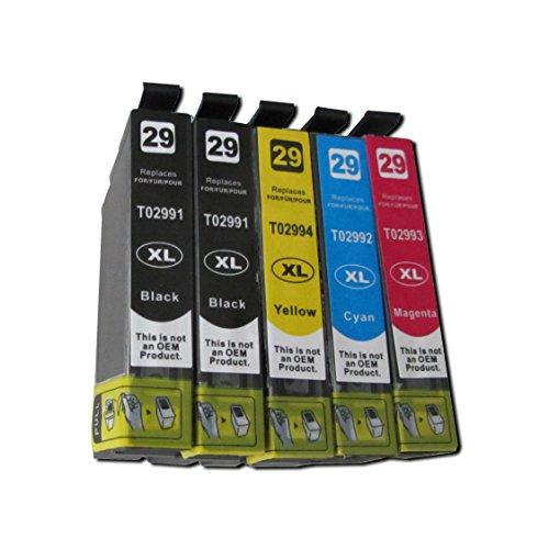 ESMOnline 5 komp. XL Druckerpatronen für Epson 29XL Epson Expression Home XP-332 XP-335 XP-342 XP-345 XP-432 XP-435 XP-442 XP-445 XP-235 XP-245 XP-247 2 x schwarz 1 x blau 1 x rot 1 x gelb