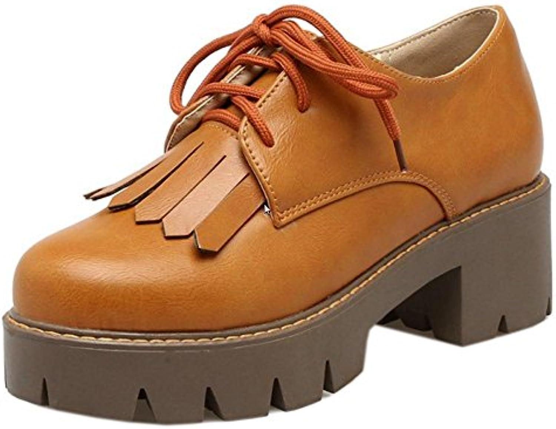RAZAMAZA Zapatos Atados de Retro con Flecos para Mujer