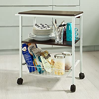SoBuy FRG57-W Three Tier Plastic Trolley, Fruit or Vegetable Kitchen Storage ,Toiletries Rack, L51x W35 xH62cm,with Four Free Moving Castors, White
