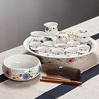 SSBY Ceramica kungfu tè tè hive squisita porcellana traforata set da tè confezione regalo package,Blue (Personalizzata Cucchiaio Da Bambino)